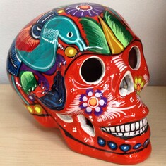 sugar skulls, ceramic, handpainted