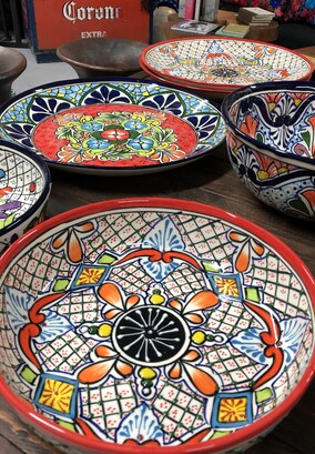 Cookware, hand painted bowls, square and round dishes, talavera