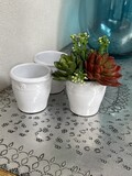 White Ceramic Daisy Vessel - set of 3