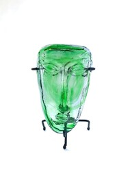 Mexican Glass Mask - Green