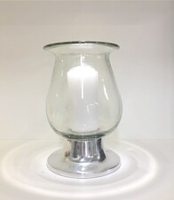 Glass Hurricane Lamp with candle